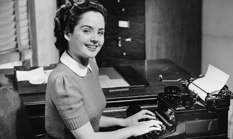 1950s secretary using typewriter